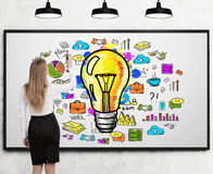 Woman drawing idea on whiteboard Royalty Free Stock Photo