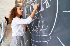 Woman Drawing  Inspirational Checkboard Picture Stock Photos