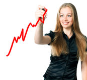 Woman drawing a marker. Beautiful young business woman drawing a marker Stock Images