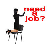 Woman drawing  need a job. Businesswoman drawing  need a job Stock Photography