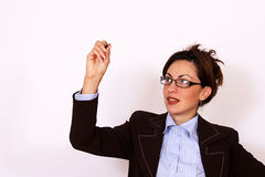 Woman drawing with the pen Royalty Free Stock Photo