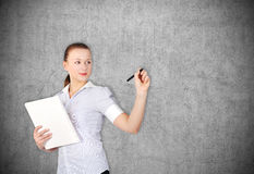 Woman drawing Stock Photography
