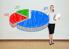 Woman drawing pie graph Stock Image