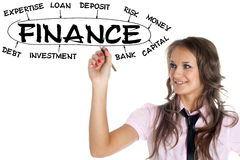 Woman drawing plan of Finance Royalty Free Stock Images