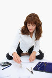 A woman drawing project Stock Photography