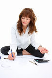 A woman drawing a project Stock Image