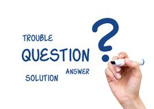 Woman drawing question answer content Stock Images