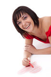 Woman drawing red heart-shape Royalty Free Stock Photography