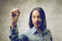 Woman drawing Stock Photo