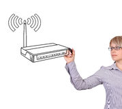 Woman drawing router Stock Photos