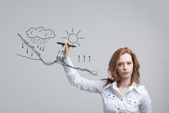 Woman drawing schematic representation of the Royalty Free Stock Images