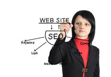 Woman drawing seo scheme Stock Photo