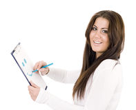 Woman drawing smile Royalty Free Stock Photography