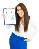 Woman drawing smile and hanging out her toungue Royalty Free Stock Photos
