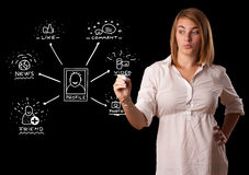 Woman drawing social network icons on whiteboard Stock Image