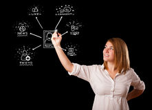 Woman drawing social network icons on whiteboard Stock Photos