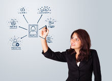 Woman drawing social network icons on whiteboard Royalty Free Stock Photo