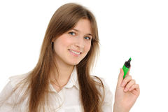 Woman drawing something on screen with a pen Stock Photo