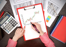 Woman drawing stock chart Royalty Free Stock Photo