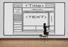 Woman drawing  template  website Stock Photos