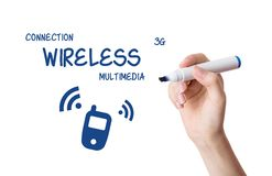 Woman drawing wireless multimedia content Stock Image