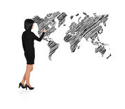 Woman drawing world map Stock Photography