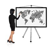 Woman drawing world map Royalty Free Stock Image