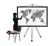 Woman drawing world map Stock Photography