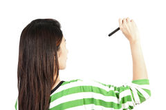 Woman drawing or writing Stock Images