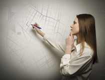 Woman drawing Stock Photo