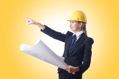 Woman with drawings  Stock Images