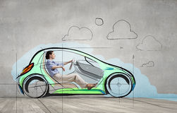 Woman in drawn car Stock Images