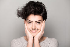 Woman with Drawn Mustaches Stock Photography