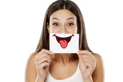 Woman with a drawn smile Royalty Free Stock Image