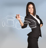 Woman draws Car standing on abstract background Stock Images