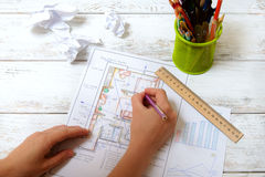 The woman draws a diagram of Feng Shui stock photo