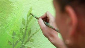 Woman Draws a Tree stock footage