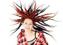 Woman with dreadlocks. Girl with dreadlocks on the floor Royalty Free Stock Photography