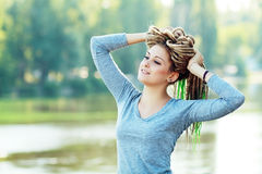 Woman with dreads happy Royalty Free Stock Images