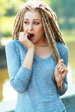 Woman with dreads making face Royalty Free Stock Photos