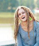 Woman with dreads making face Royalty Free Stock Images