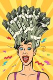 Woman dream about money stock illustration