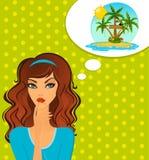 Woman dream about tropical beach Stock Photos