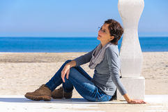 Woman dreaming on beach Royalty Free Stock Images
