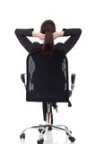 Woman dreaming on chair Royalty Free Stock Images