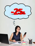 Woman dreaming about a discount Stock Image