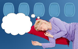 Woman Dreaming on flight Stock Images