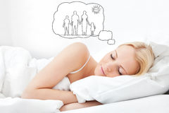 Woman Dreaming Of Having Family Together Royalty Free Stock Images
