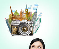 Woman dreaming about holidays, sights Royalty Free Stock Image