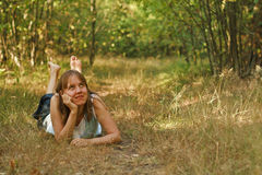 Woman dreaming in nature Royalty Free Stock Images